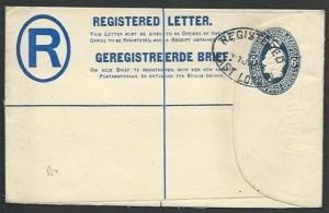 SOUTH AFRICA 1923 small 6d Registered envelope used to UK..................61068