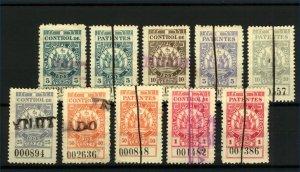Cordoba 1902 Range of Control de Patentes Revenues 5c to 10pesos (10v) FU
