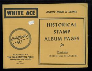 White Ace Historical Stamp Album Pages Coins Topical Blank Pages Pack of 12