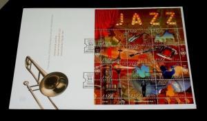 U.N. 2014, GENEVA #579, YEAR/JAZZ SHEET/12 ON OVER SIZED COVER, FDC NICE! LQQK!