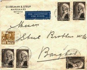 DUTCH EAST INDIES Cover Batavia Air Mail SIAM THAILAND Bangkok 1934 LS75
