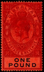GIBRALTAR SG85, £1 dull purple & black/red, NH MINT. Cat £140.