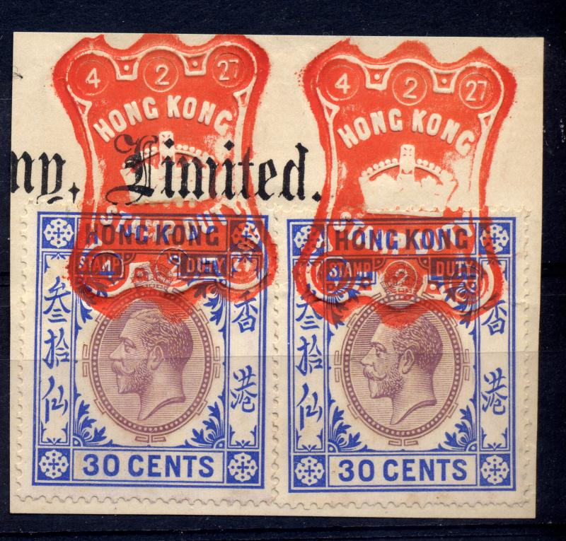 Hong Kong 1912-21 20c and 30c revenues pairs used with seal
