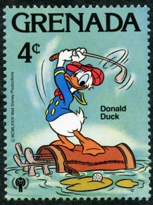 Disney Characters: Donald Duck Playing Golf, Sports, 1979 Grenada, Scott #954