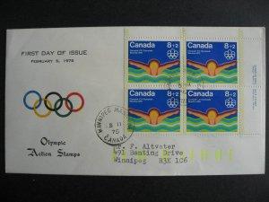 Canada Viking, Peters Enterprises cachet FDC Sc B4 Olympics plate block 4
