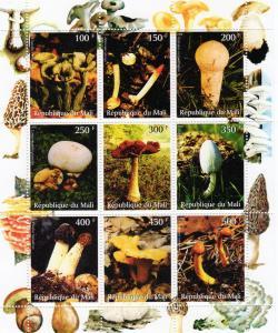 Mali 1998   Mushrooms-Fungi Sheetlet  (9) Perforated MNH