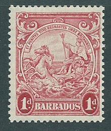 Barbados SG 249 SC# 194b MVLH  perf 13 ½ x 13 ( actually 13.3)