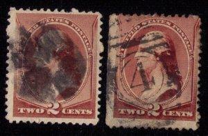 US Scott #210 x 2 Each 2c Brown Fine
