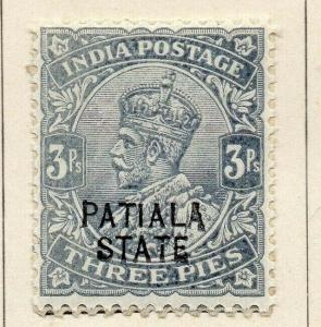 Patiala 1913-26 Early Issue Fine Mint Hinged 3p. Optd 320095