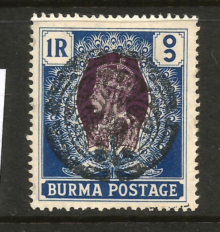 BURMA JAPANESE OCCUPATION 1942 1r PEACOCK MLH  SG J18 Sc IN43