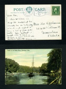 Picture Post Card of Yachts on the Rocky River, Cleveland, Ohio dated 4-25-1913