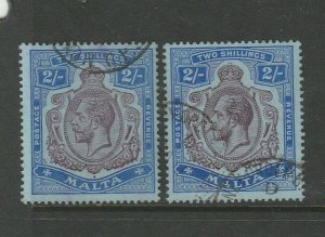 Malta 1914/21 GV Crown CA, both listed shades FU SG 86 & 86g