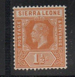 Sierra Leone Sc 102 1912 1 1/2d orange George V stamp mint