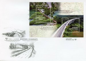 Croatia Architecture Stamps 2021 FDC Bridges & Viaducts Kude's Bridge 2v M/S