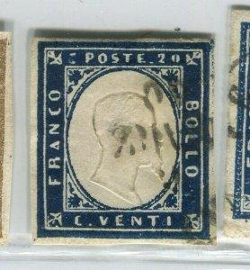 ITALY SARDINIA; 1855 classic Imperf issue fine used SHADE of 20c. value