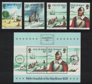 Isle of Man Captain Myles Standish of the Mayflower 4v+MS SG#321-MS325