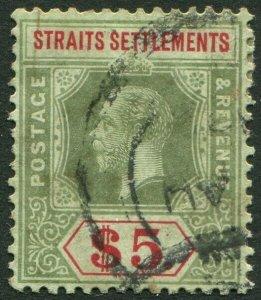 STRAITS SETTLEMENTS-1913 $5 Green & Red/Green white back Sg 212 faded AU V50204