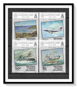 British Virgin Islands #466-469 Lloyd's List Set MNH