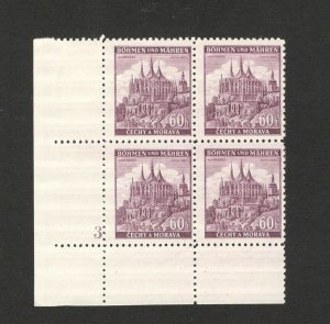 Germany Occ Bohemia & Moravia-Czechoslovakia -MNH BLOCK OF 4-NUMBER 3-1940