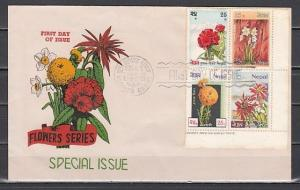 Nepal, Scott cat. 224-227. Flowers issue on a First day cover.
