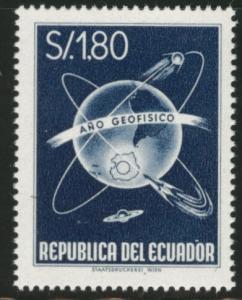 ECUADOR Scott 650 MNH** 1958 Geophysical year globe stamp