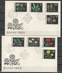 Bulgaria, Scott cat. 1728-1735. Herbs & Flowers issue. 2 First day covers. ^