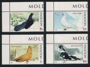 Moldova Breeds of Pigeon Birds 4v Top Left Corners MI#799-802