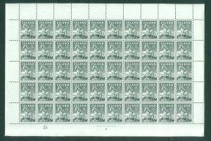 Iceland 1958 Icelandic Pony 10 Aur Full Sheet MNH. Sc# 311
