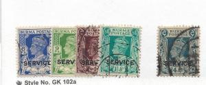 Burma, O16,O19,O21, Official Stamps Singles,**Used**