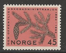 Norway 1962 45 ore Fir Branch & cone, Scott #406, Mint Never Hinged