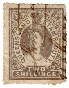 (I.B) Australia - Queensland Revenue : Stamp Duty 2/- (1866)