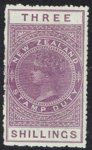NEW ZEALAND 1882 QV STAMP DUTY 3/- WMK SINGLE STAR NZ PERF 14.5 - 14 POSTAL FISC
