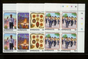BARBADOS Sc#706-709 Complete Mint Never Hinged PLATE BLOCK Set