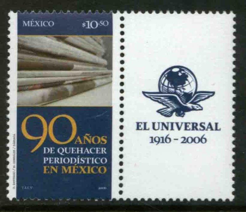 MEXICO 2538, EL UNIVERSAL NEWSPAPER 90th ANNIVERSARY W/LABEL. MINT NH. VF.