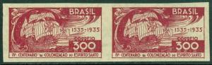 EDW1949SELL : BRAZIL 1935 Scott #412 Imperf pair. Very Fine, Mint Never Hinged.