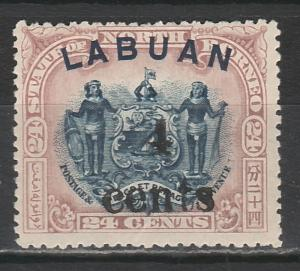 LABUAN 1904 SMALL 4 CENTS OVERPRINTED 24C ARMS PERF 13.5 -14