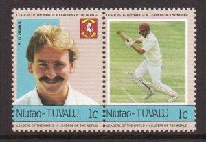 Tuvalu  Niutao  #21   MNH   1985  cricket players  1c pair  Hinks