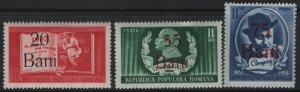 ROMANIA, 817-819, (3) SET,  HINGED, 1952, Birth cent. of ion L. Caragiale