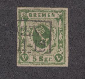 Bremen Sc 4b used 1856 5sgr yellow green Coat of Arms, 4 margins, Scarce