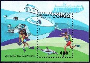 Brazzaville. 1993. bl112. Dolphin deep-sea underwater vehicle. MNH.