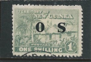 NEW GUINEA OFFICIAL 1925-31 1s DULL BLUE-GREEN FU SG O29 CAT £40