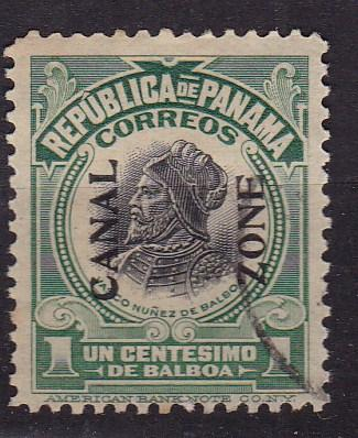 Canal Zone 1918 1c green Balboa with Black Overprint Reading Up. VF/Used Nr.52
