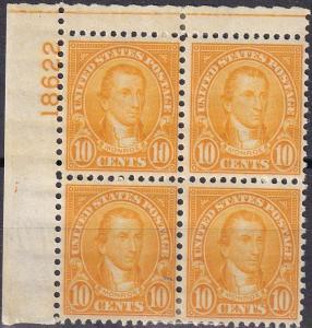 US #642 F-VF Unused  Plate Block CV $17.00 (A19931)