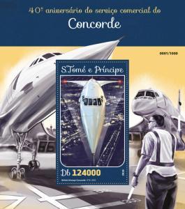 Sao Tome & Principe Aviation Stamps 2016 MNH Concorde Commercial Service 1v S/S