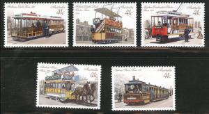 AUSTRALIA Scott 1154-1158 MNH** 1990 Street Car set