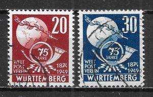 Germany (Wurttemberg), 8N40-41, 75th UPU set Used