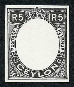 Ceylon 1927 5R Die Proof (Frame only) on Surfaced Paper