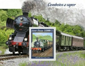 Guinea-Bissau - 2019 Steam Trains on Stamps - Stamp Souvenir Sheet - GB190503b