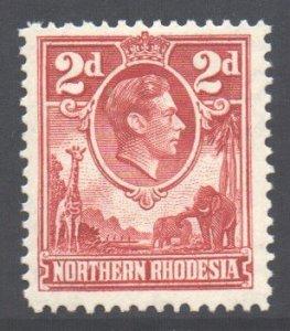 Northern Rhodesia Scott 32 - SG32, 1938 George VI 2d Red MH*