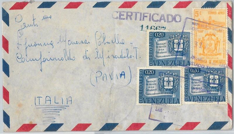 58703  -   VENEZUELA  - POSTAL HISTORY: REGISTERED COVER to ITALY - 1959